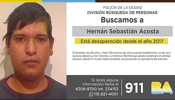 La Policía de la Ciudad solicita colaboración en la búsqueda de Hernán Sebastián Acosta.