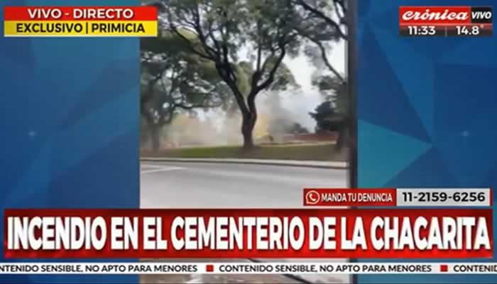 Extraño incendio en sector del Osario General en el Cementerio de la Chacarita